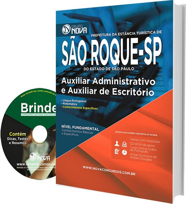 Apostila Prefeitura de São Roque - SP 2016 - Auxiliar Administrativo e Auxiliar de Escritório