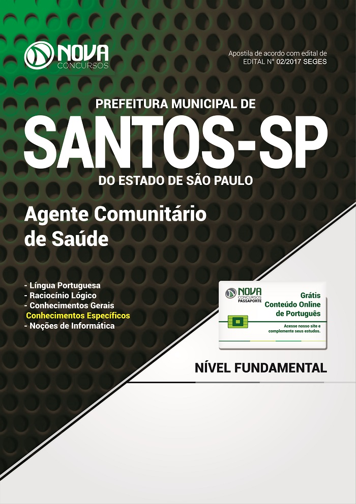Apostila Prefeitura de Santos 2017 para agente Comunitário de Saúde