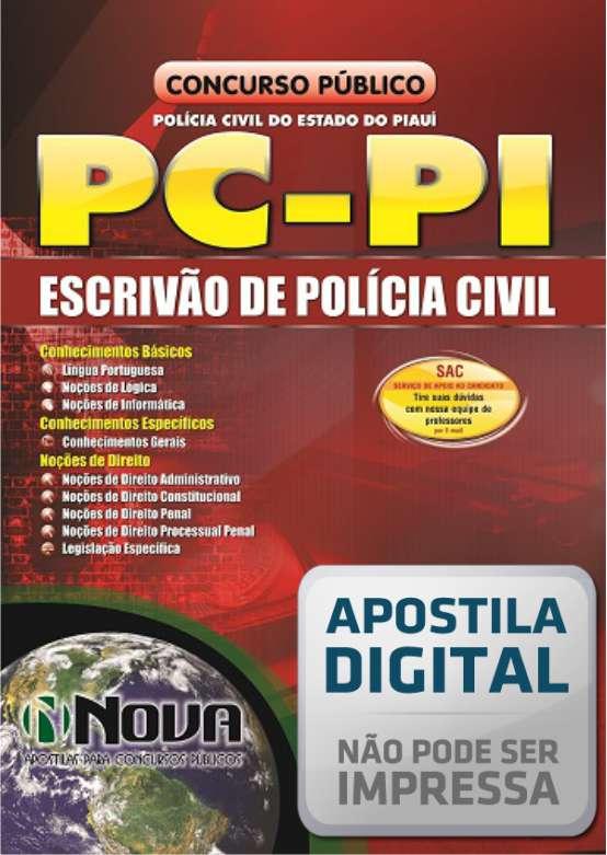 apostila PC PI agente escrivão da  Polícia Civil do Piauí.