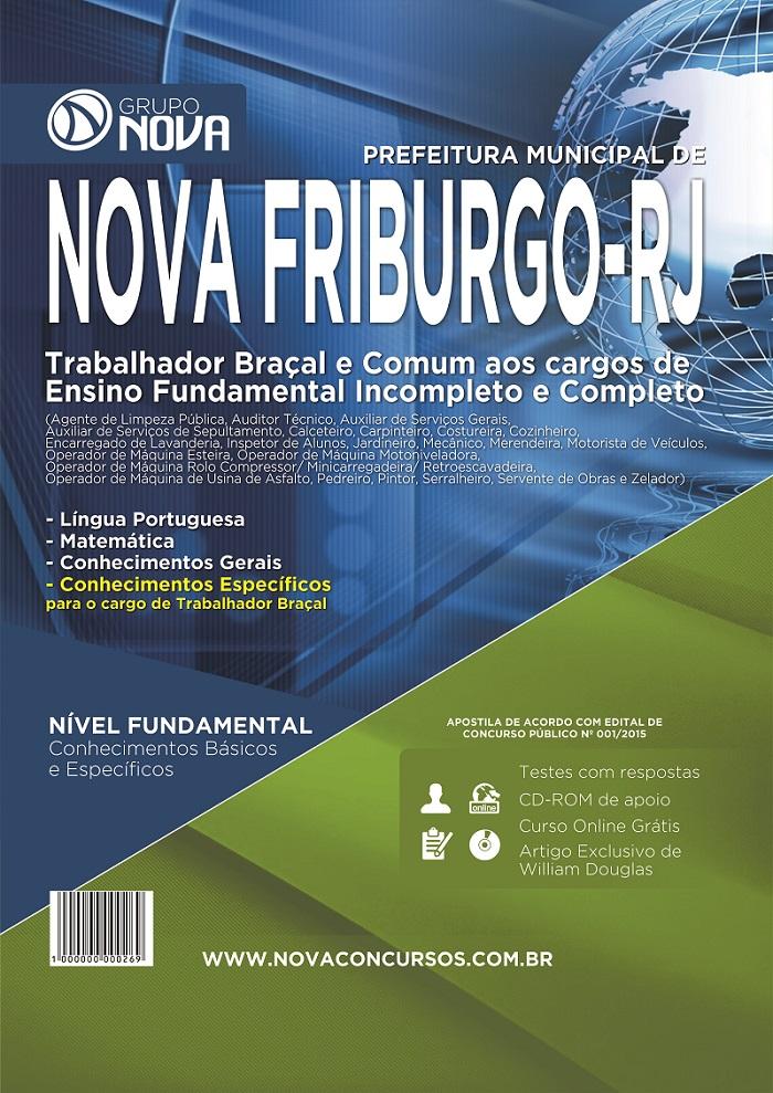 Apostila Nova Friburgo - RJ 2015 - Professor - Trabalhador Braçal e Comum Nível Fundamental ( Impresso )