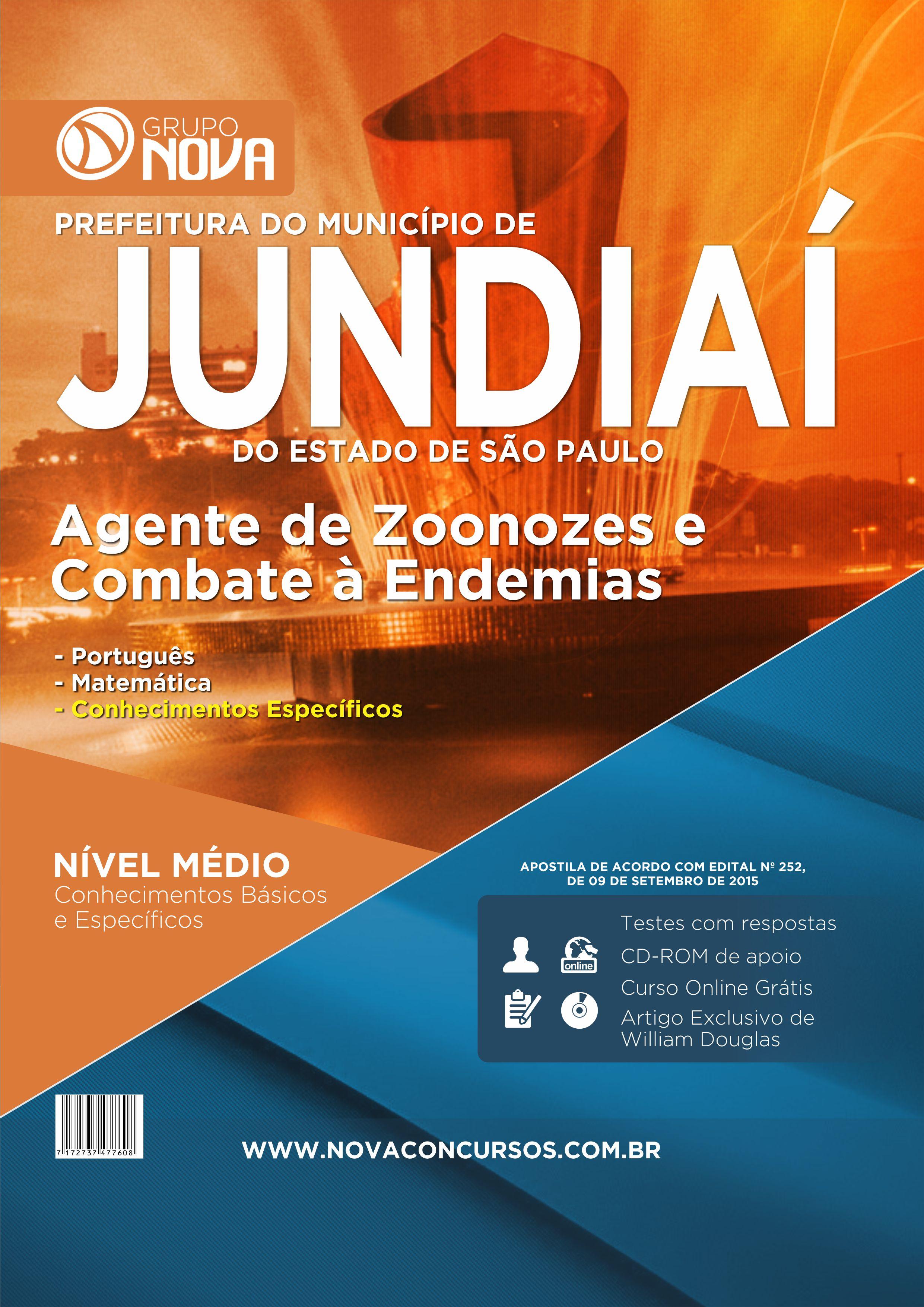 Apostila Jundiaí 2015 - Agente de Zoonoses e Combate à s Endemias ( Impresso )