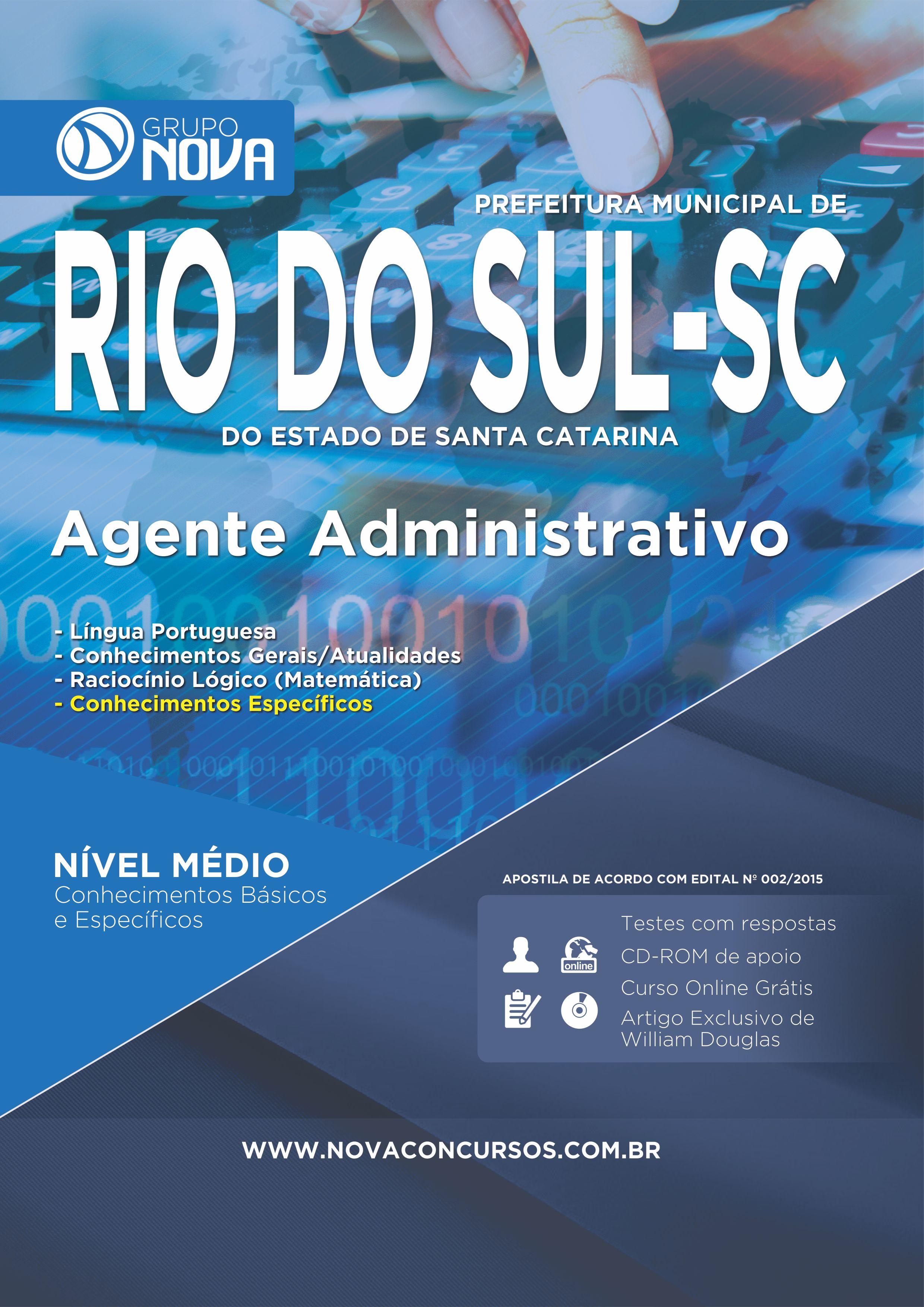 Apostila Rio do Sul 2015 - Agente Administrativo ( Impresso )