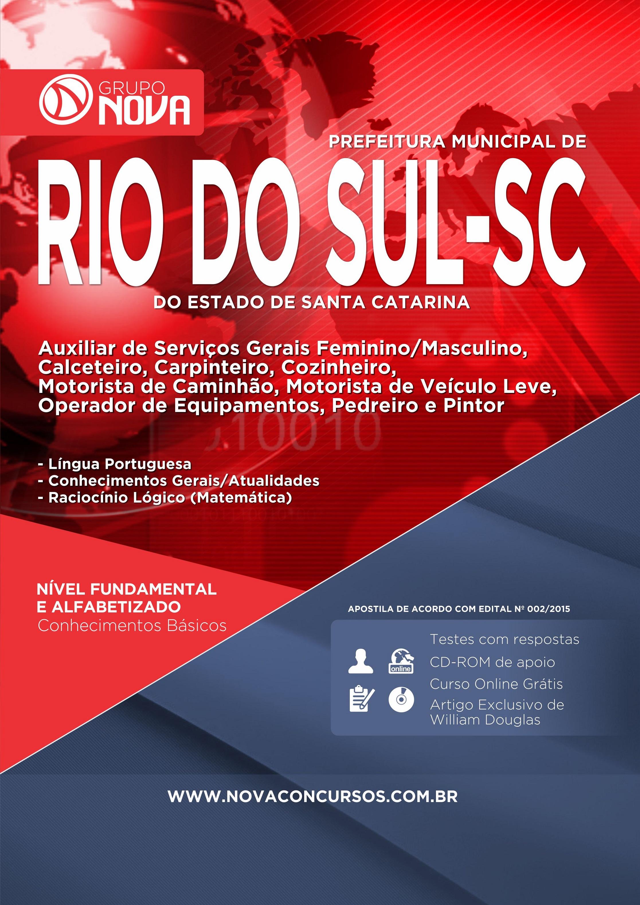 Apostila Rio do Sul 2015 - Comum aos Cargos Fundamental e Alfabetizado ( Impresso )