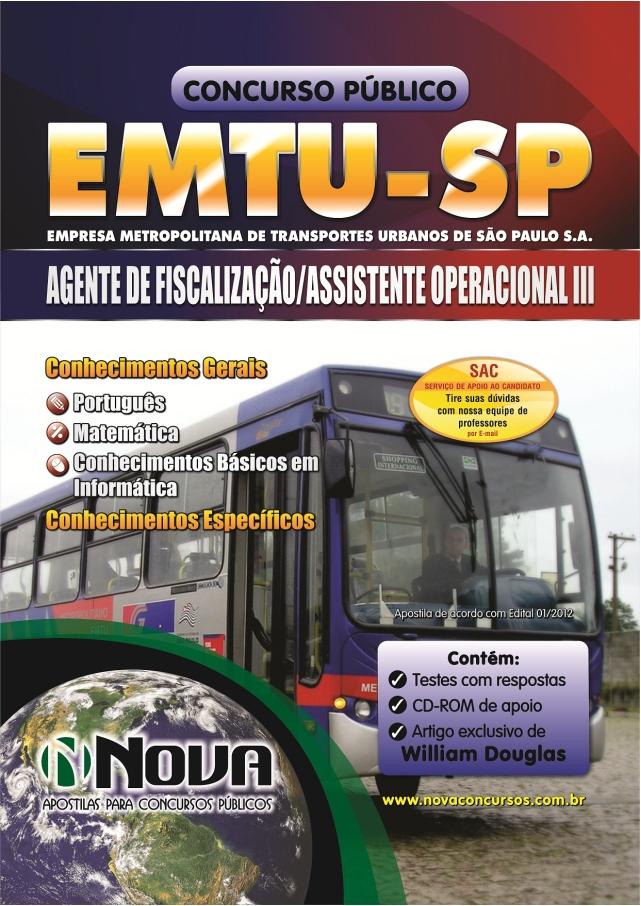 Apostila Concurso EMTU SP 2013 para Agente de Fiscalização e Assistente Operacional III