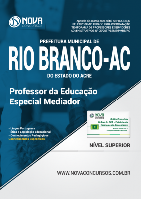 Apostila Prefeitura de Rio Branco - AC - Professor da Educação Especial Mediador