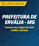 Curso Online Prefeitura de Ervália - MG - Comum aos Cargos de Nível Médio e Técnico