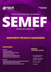 Apostila Download Prefeitura de Manaus - AM (SEMEF) 2019 - Assistente Técnico Fazendário