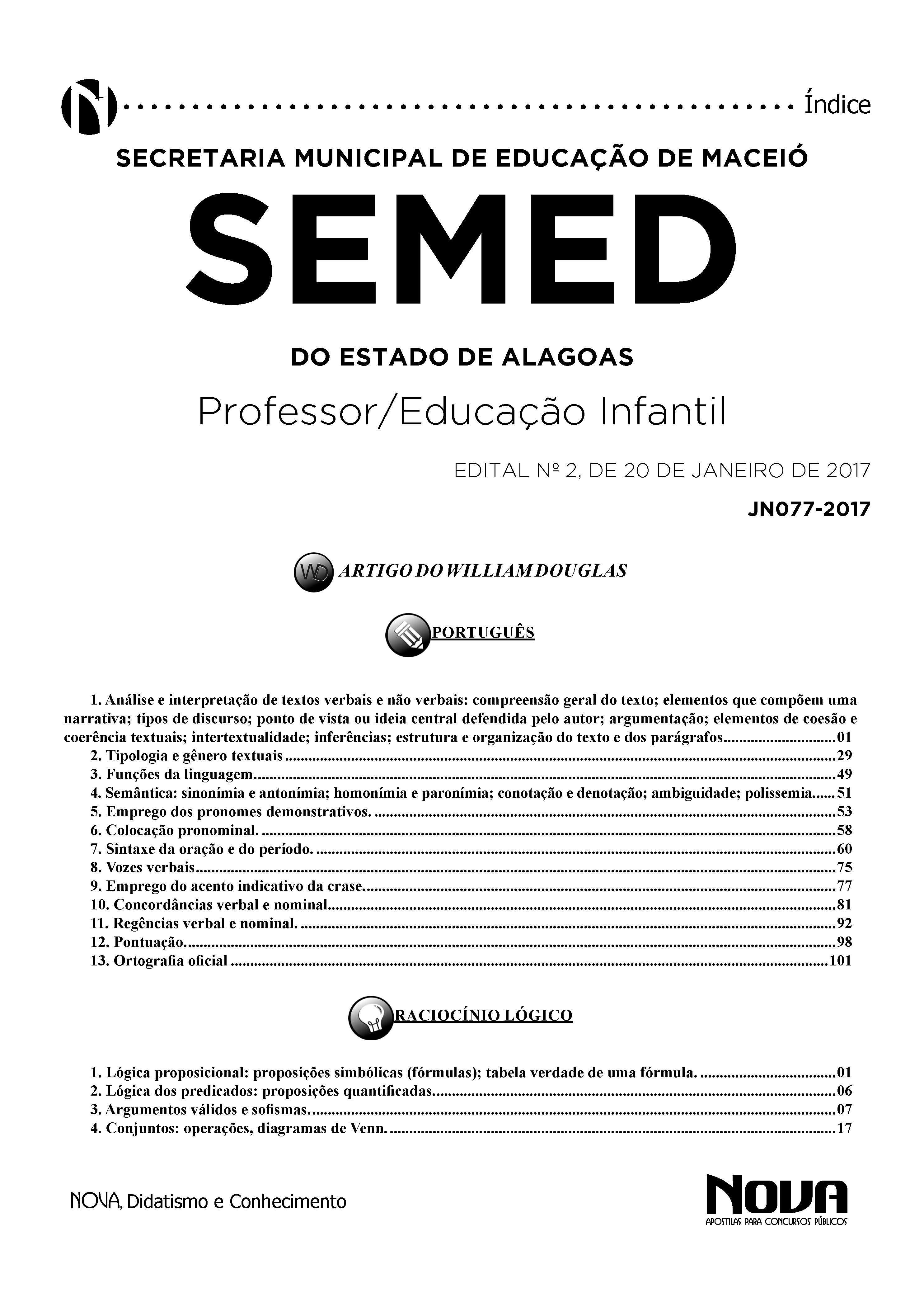 Apostila Semed Al 2017 Professor Educação Infantil